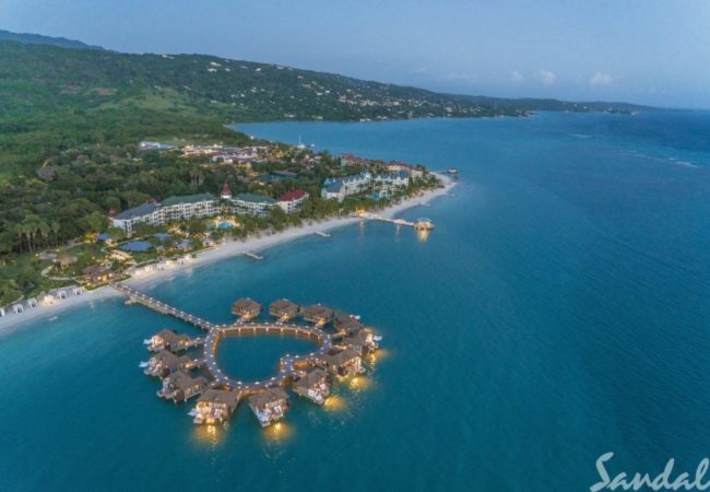 a view of over the water cabanas and sandals south coast in jamaica