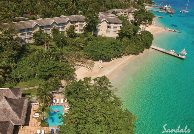 an ariel view of sandals royal plantation resort