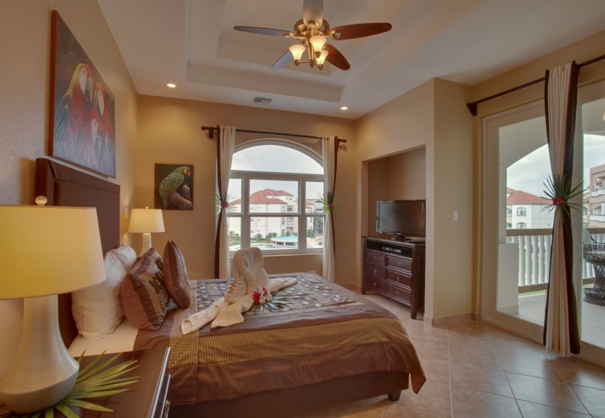 one of the bedroom in the 3 bedroom suite at grand caribe belize san pedro