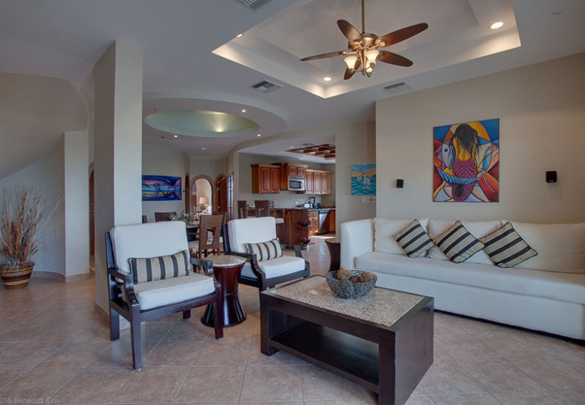 the living room in the Two Bedroom Condo at grand caribe belize