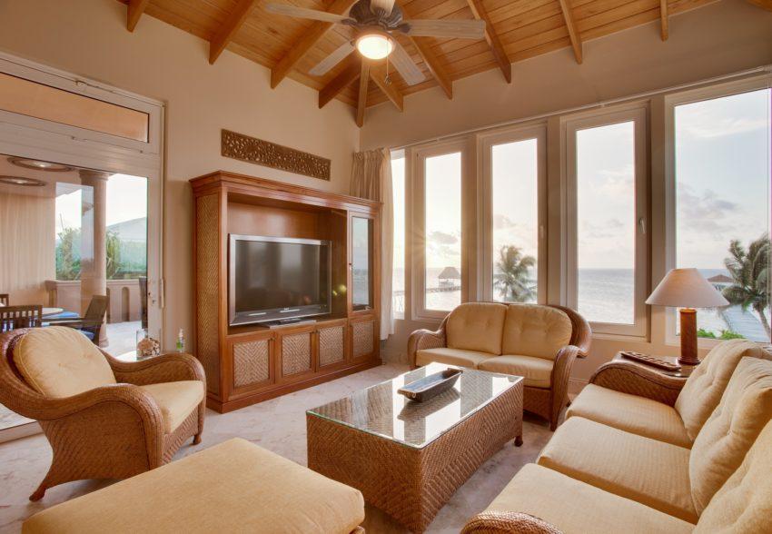 villa del mar living room overlooking the caribbean sea at belizean cove estate belize
