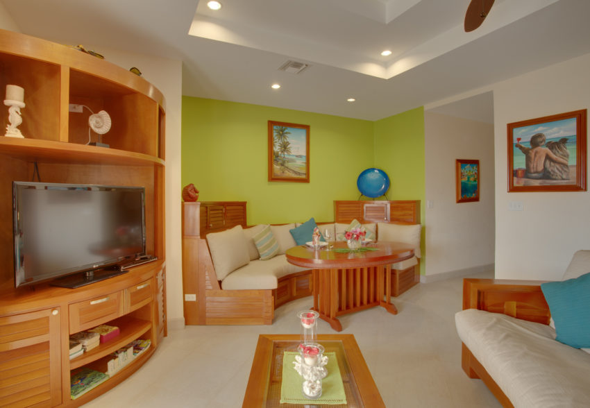 living area of the One Bedroom Condo at grand caribe belize
