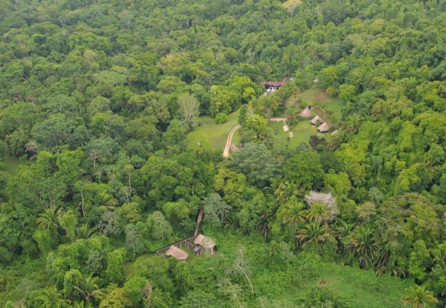 ariel view of pook's hill lodge in the jungle of western belize