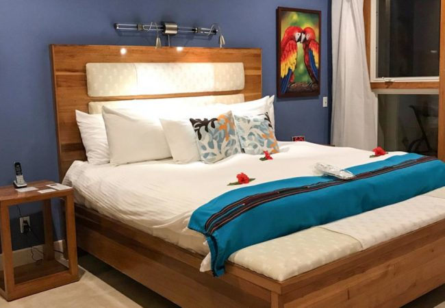 master bedroom in the two bedroom suite at the phoenix ambergris caye belize