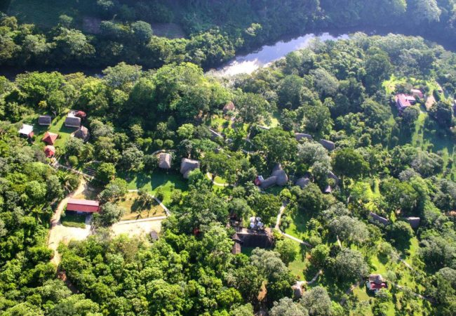 ariel view of chaa creek lodge in the jungle in the cayo district