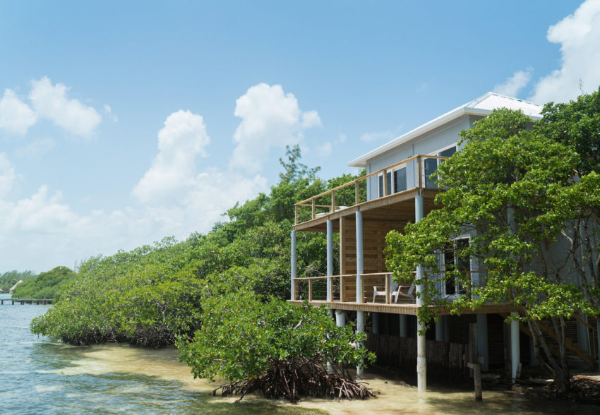 Penthouse Oceanfront Cabanas at thatch caye private island resort in belize