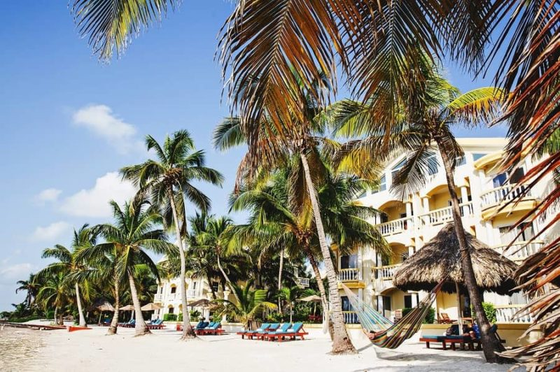 the beach with the accommodations at pelican reef on the island of ambergris caye belize