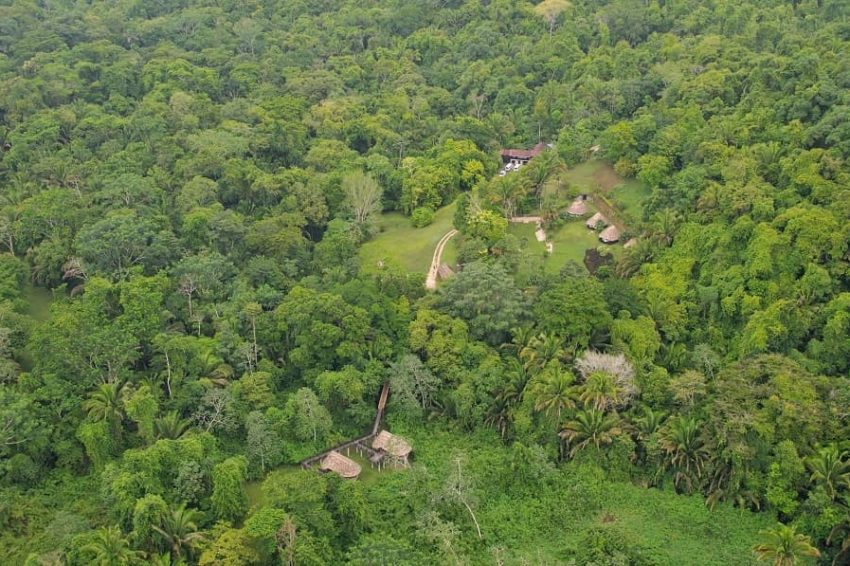 aerial view of pook's hill lodge deep in the jungle of belize