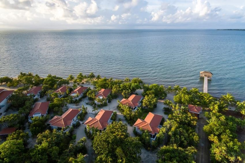 aerial view off the beach house on the beach in placencia belize