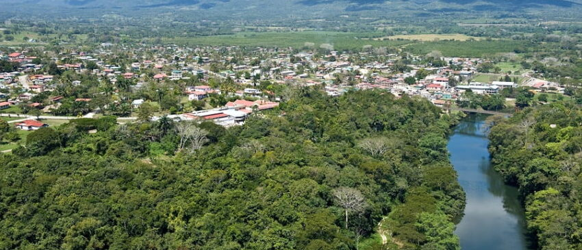 ariel view of the macal river and san ignacio