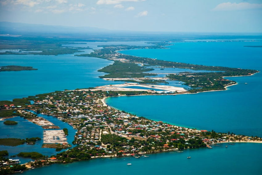 ariel view of the placencia village in southern belize