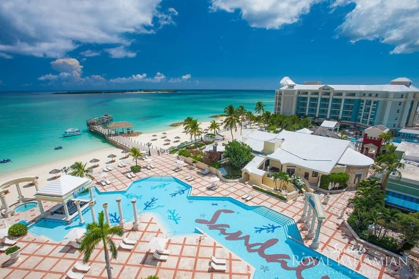 an ariel view of sandals royal bahamain in the bahamas