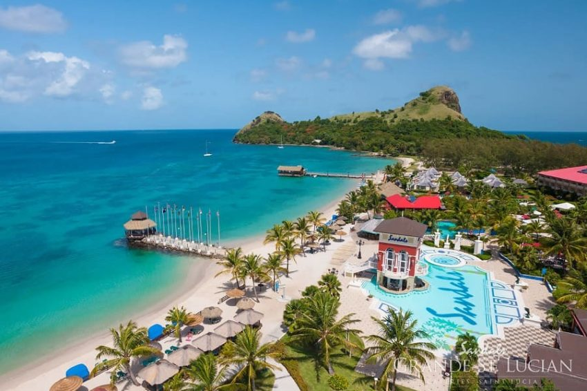 ariel view of the beachfront resort of sandals grande st lucian in saint lucia
