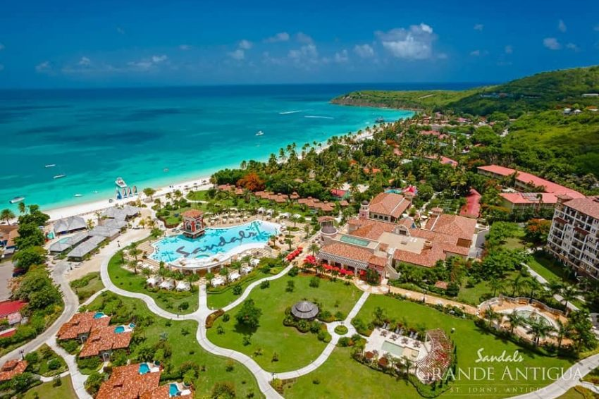 an ariel view of sandals grande antigua in st john antigua