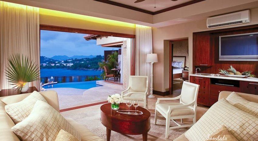Sunset Oceanview Bluff Millionaire Butler Villa with Private Pool Sanctuary, Sandals Regency La Toc