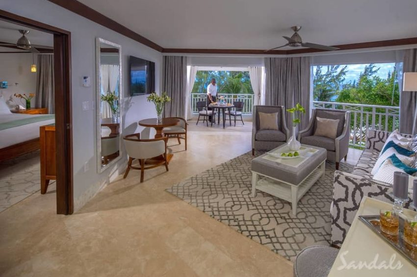 Beachfront Penthouse One Bedroom Butler Suite with Balcony Tranquility Soaking Tub, Sandals Barbados