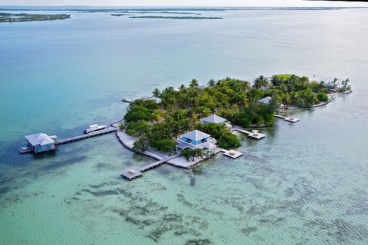 aerial view of cayo espanto private island resort in belize