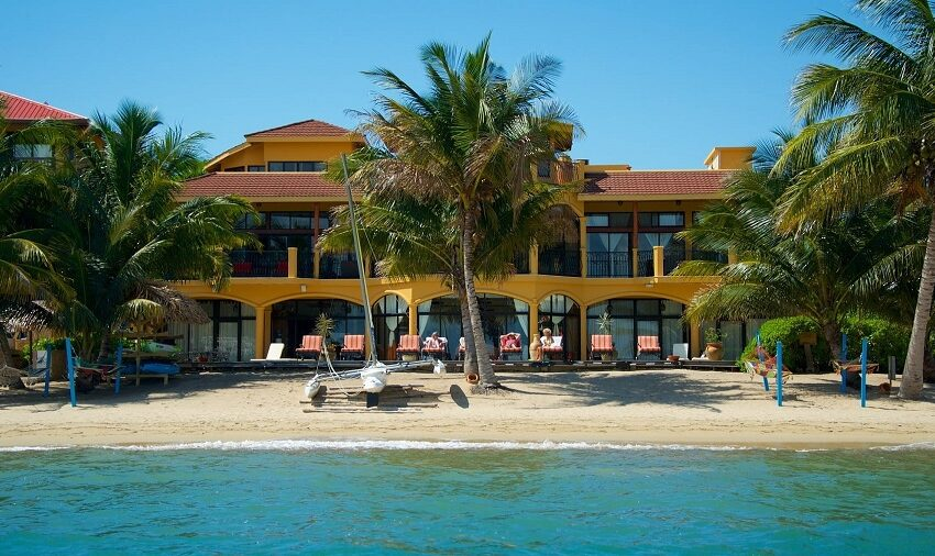 view of the villa on the beach in hopkins belize
