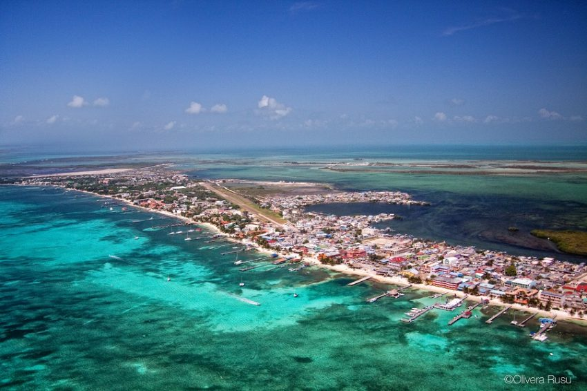 aerial view of downtown san pedro on the island of ambergris caye